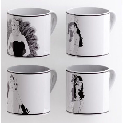 A set of 4 Burlesque Mugs