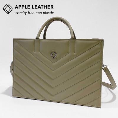 Geschäftstasche - Apfel-Leder Stiche   Olivgrün