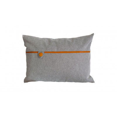 Tailor Made Button Pillow   Ginger Brown