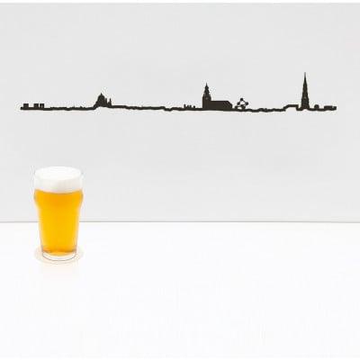 Wanddekoration Brüssel Skyline Groß | Schwarz