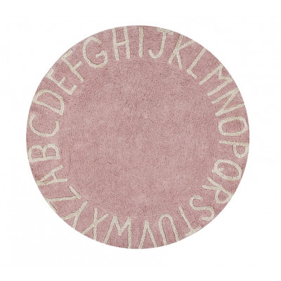 Waschbarer Teppich  | ABC | Pink & Naturel