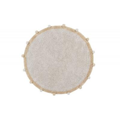 Waschbarer Teppich Rund   | Bubbly | Natürlich & Honiggelb