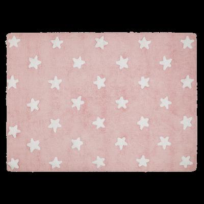 Waschbarer Teppich  | Stars | Pink & Weiß
