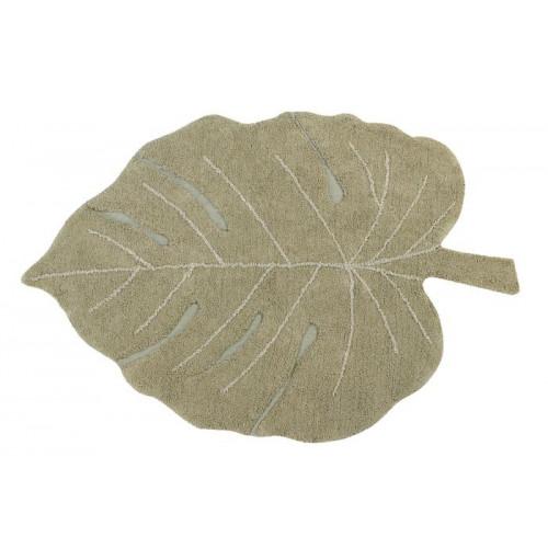 Waschbarer Teppich Monsterablatt | Olivgrün