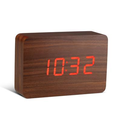 Brick Klick-Uhr  Walnuss und Rote LED