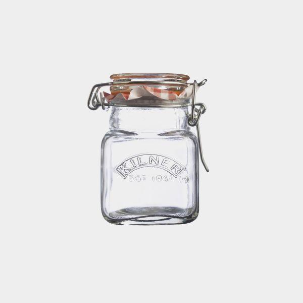 Quadratisches Glas Clip Top Gewürzglas 70 ml