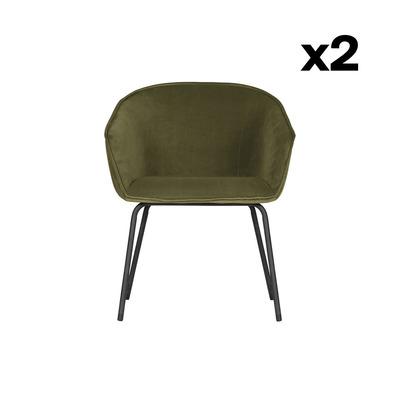 2er Set Esszimmerstühle Sien Samt | Grün
