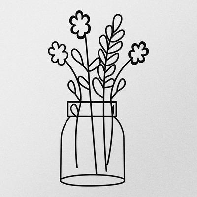 Dekoratives Metall Wandzubehör Blume 3 l Schwarz