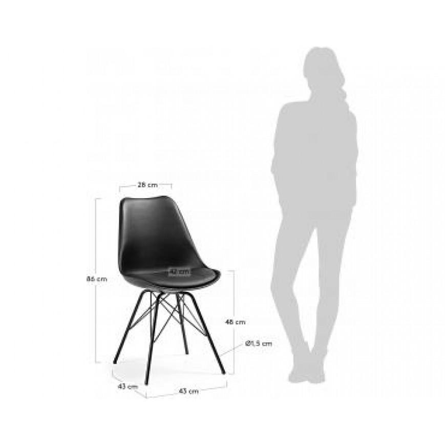 Set of 4 Chairs Lars   Black
