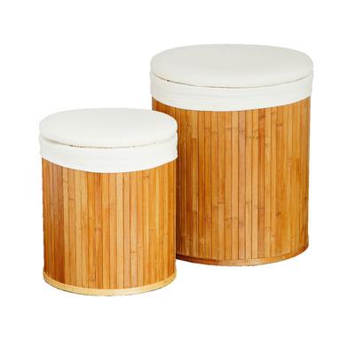 2er-Set Runder Wäschebehälter | Bambus und Sitze aus Segeltuch