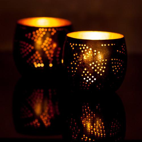 Kerzenhalter Kugel Filigran Set mit 2 Kugeln   Gold