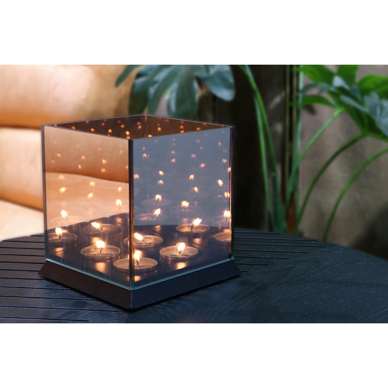 Kerzenlichter Spiegelglas 4 Lichter   Schwarz