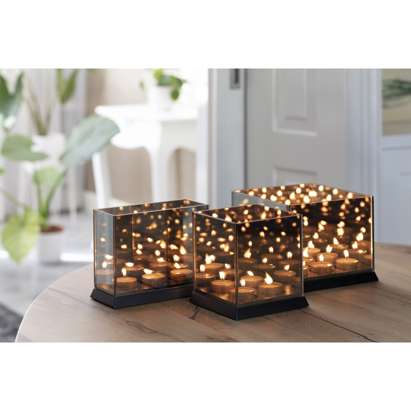 Kerzenlichter Spiegelglas 9 Lichter   Schwarz