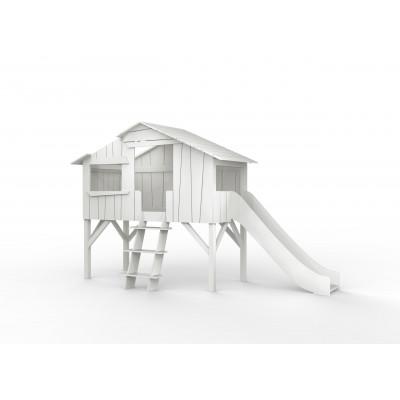 Baumhaus Einzelbett und Einzelrutsche l Weiß