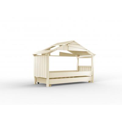 Baumhaus Bett Star mit einem Rolluntergestell l Weiß