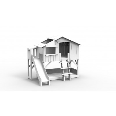 Baumhaus Einzelbett, Rutsche mit Plattform l Weiß