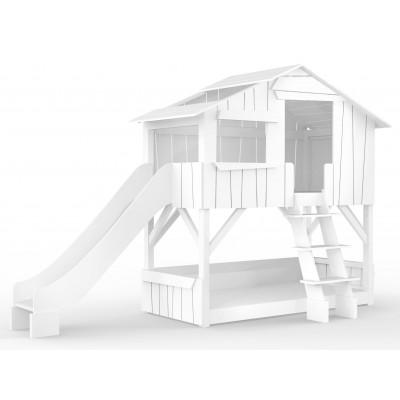 Cabin Bunk Bed with Slide Cabanes | Brut & White