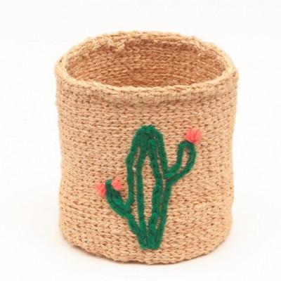 Embroidered Storage Basket Cactus