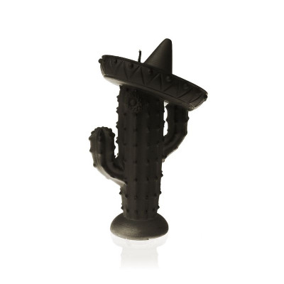 Candle   Cactus with Sombrero Black