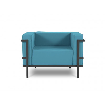 Outdoor-Sessel Cannes | Blau & Anthrazit Gestell