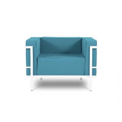Outdoor-Sessel Cannes | Blau & Weißes Gestell