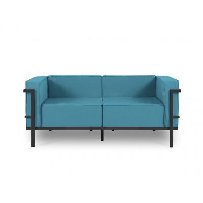 2-Sitz-Außensofa Cannes | Blau & Anthrazit Gestell