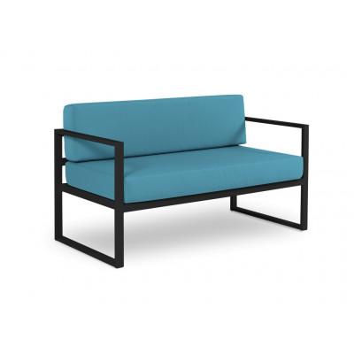 2-Sitzer-Sofa Nicea | Dunkelgraues Gestell & Blau