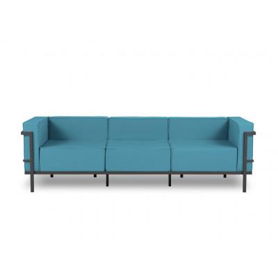 3-Sitz-Außensofa Cannes | Blau & Anthrazit Gestell