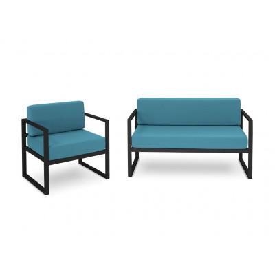 2-Sitzer-Sofa- & Sessel-Set Nicea | Dunkelgraues Gestell & Blau