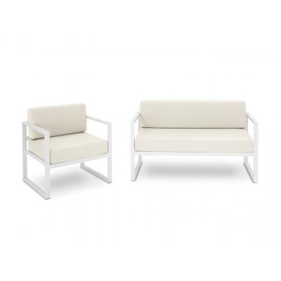 2-Sitzer-Sofa- & Sessel-Set Nicea | Weißes Gestell & Beige