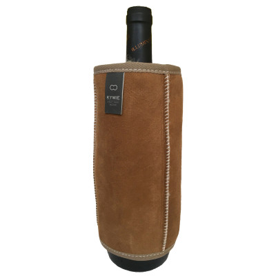 Durable Wine Sleeve Of Wool   Camel - White