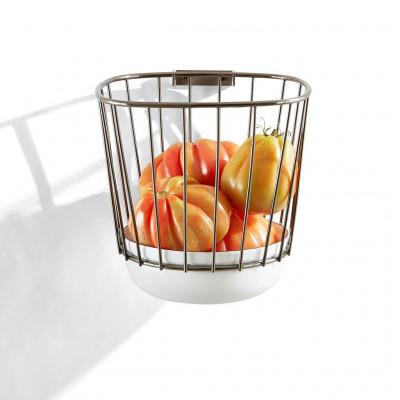 Canasta Wire Basket   White & Black Nickel