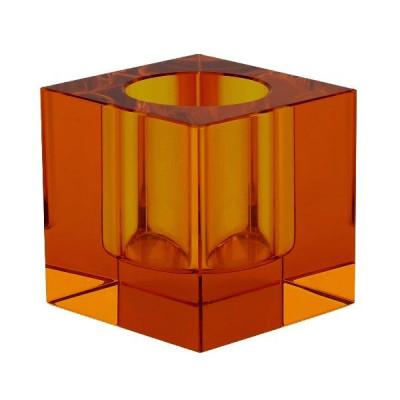 Crystal Tea Light Holder | Orange