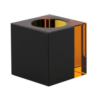 Crystal Tea Light Holder | Black/Amber