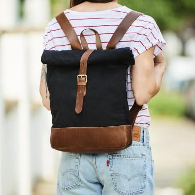Rucksack aus Leder und Leinen | Rolltop