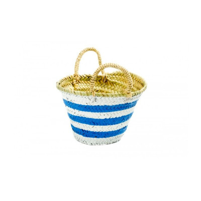 Lines Basket Baby   Blue & White