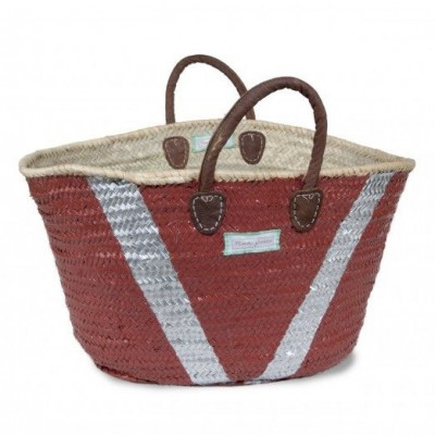 V Basket Maxi   White & Marsala