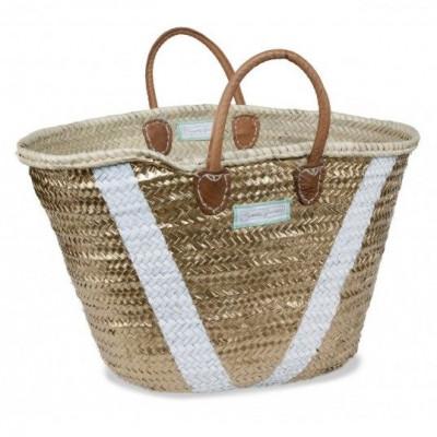 V Basket Maxi   White & Gold
