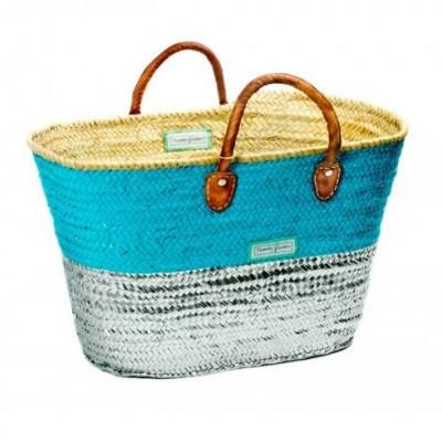 50/50 Basket Maxi   Silver & Turquoise