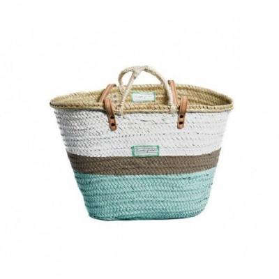 Tricolor Basket Big Medium   Turquoise/Taupe/White