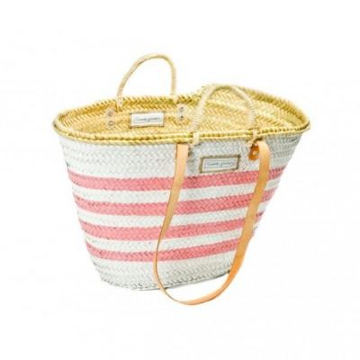 Lines Basket Big Medium   White & Pink