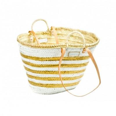 Lines Basket Big Medium   White & Gold