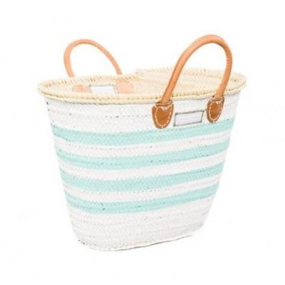 Lines Basket Minimaxi   White & Turquoise