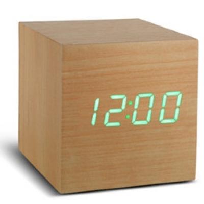 Würfel-Klick-Uhr   Buche & Grün