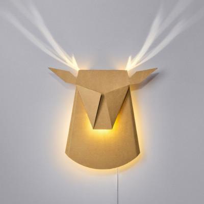 Wall Light Deer Head   Cardboard   Natural Plug