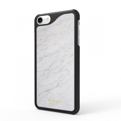 Marble iPhone Case | Carrara White with Black Border