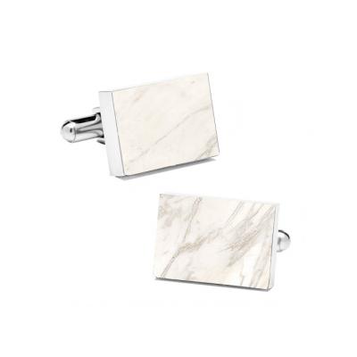 Marble Cuff Links | Carrara White (Rectangular)