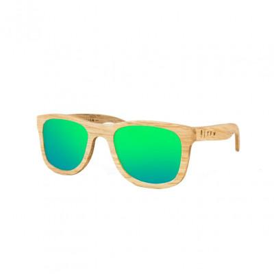 Wooden Frame Sunglasses Caviuno Green Mirror