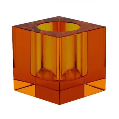Crystal Tea Light Holder   Orange