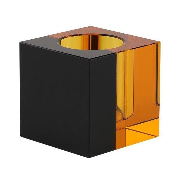 Crystal Tea Light Holder   Amber/Black
